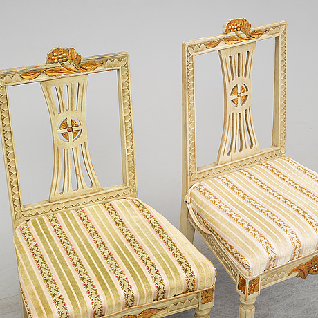 A set of six swedish late 19th century chairs