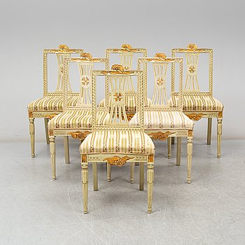 A set of six Swedish late 19th century chairs.