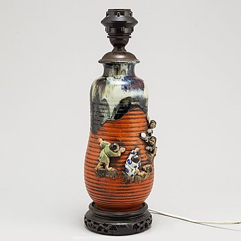A Japanese 'Sumida' vase/table lamp, Meiji (1868-1912).