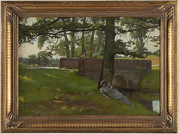 ROWLAND HOLYOAKE, oil on panel, signed.