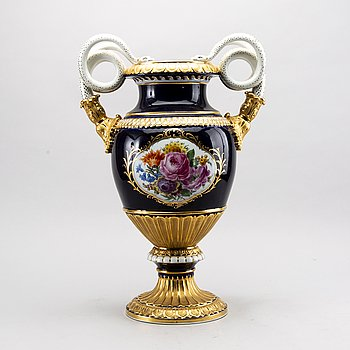 A late 19th century  Leuteritz, Meissen porcelain urn.