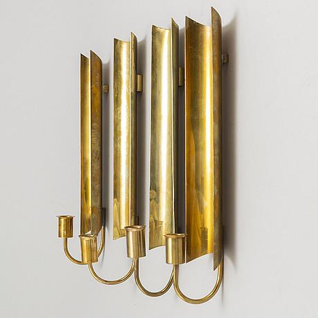 """Pierre forssell, vägglampetter, 4 st, mässing, """"reflex"""", skultuna"""