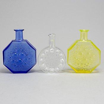 Three glass bottles, Finland, mid 20th Century.