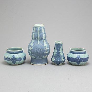 JOSEF EKBERG, four ceramic 'Sgrafitto' vases from Gustavsberg, 1919-22.