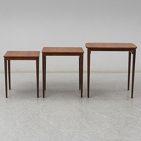 A swedish three piece nesting table, gärsnäs, 1960s