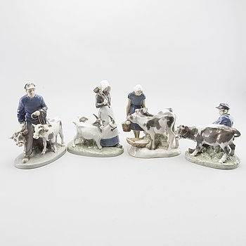 Three Royal Copenhagen and one B&G porcelain figurines.
