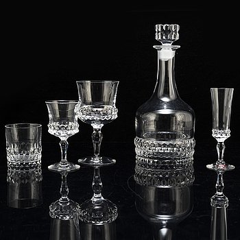 INGEBORG LUNDIN, a part 'Silvia' part glass service, from Orrefors, second half of the 20th century (49 pieces).