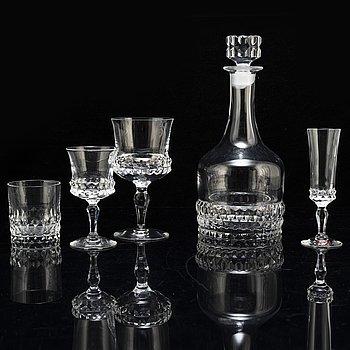 """INGEBORG LUNDIN, glasservis, 49 delar, """"Silvia"""", Orrefors, 1900-talets andra hälft."""