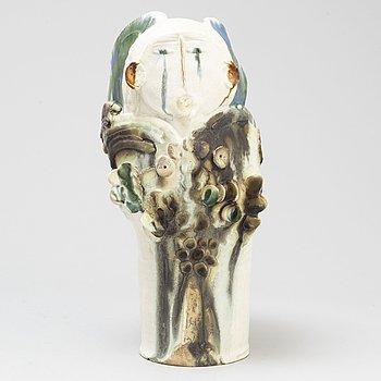 HERTHA HILFFON, a stoneware vase/sculpture, signed.