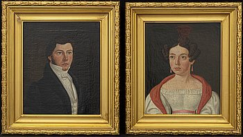 UNKNOWN ARTIST, 2 oil paintings on canvas, mid 19th century.