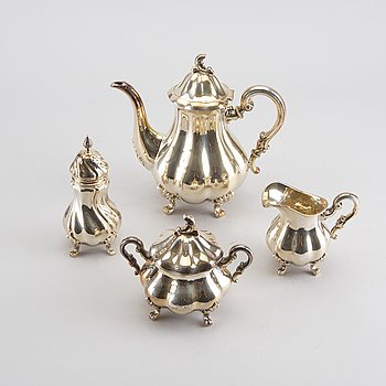 A SET OF 4 PIECES SILVER COFFEE SERVICE, swedish import marks, total weight c:a 1.015 g.