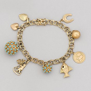 A BRACELET with NINE CHARMS, 14K gold, turqouise.