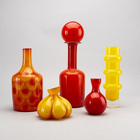 Parti vaser, 5 st, glas, holmegaard, Åseda m fl.