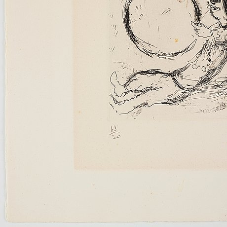 Marc chagall, etching in colour, 1968, signed in pencil and numbered 43/50.