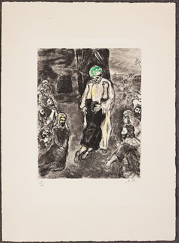 Marc chagall, handcoloured etching, on arches paper, 1928, signed in pencil and numbered 51/100.