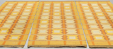 Three flat weave runners signed mlb, ca 246 x 93 cm