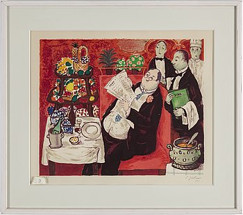 "LENNART JIRLOW, lithograph in colours, signed L. Jirlow and numbered 153/310 in pencil. Executed in 1978. ""Gourmanden""."