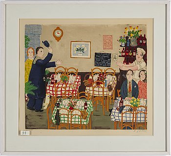 "LENNART JIRLOW, lithograph in colours, signed L. Jirlow and numbered LXIV/LXX. Executed in 1975. ""Restauranginteriör""."