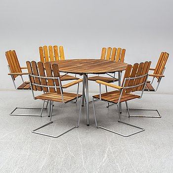 GRYTHYTTAN, a seven-piece suite of garden furniture, late 20th Century.