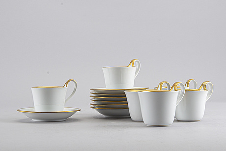 Six coffee cups bing & gröndahl, model 485, late 20th century.