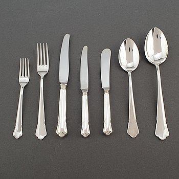 GULDSMEDSAKTIEBOLAGET (GAB), a Swedish 'Chippendale' silver cutlery, Eskilstuna, 1980/90s (64 pieces), 2476 gram.