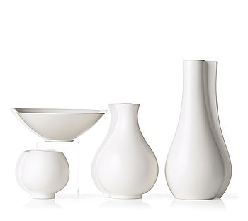 "34. Wilhelm Kåge, a set of three ""Surrea"" stoneaware vases and a bowl, Gustavsberg studio, Sweden."