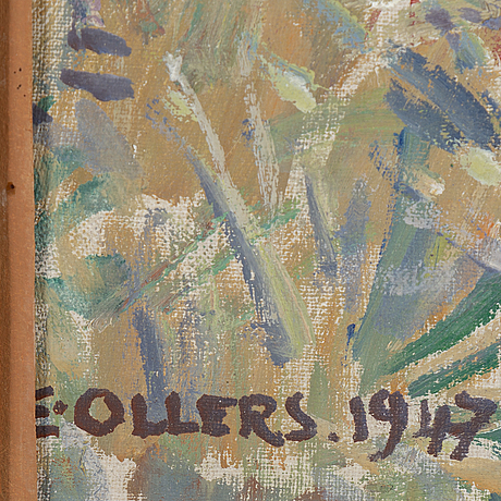Edvin ollers, oil on canvas laid down on panel, siged e. ollers and dated 1947.