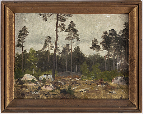 Olof arborelius, oil on paper laid down on paper panel, signed with rubber stamp and verso authenticated
