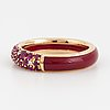 Ruby, brilliant cut diamond, enamel ring