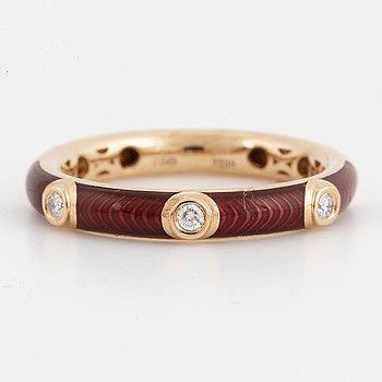 Red enamel and brilliant-cut diamond ring.