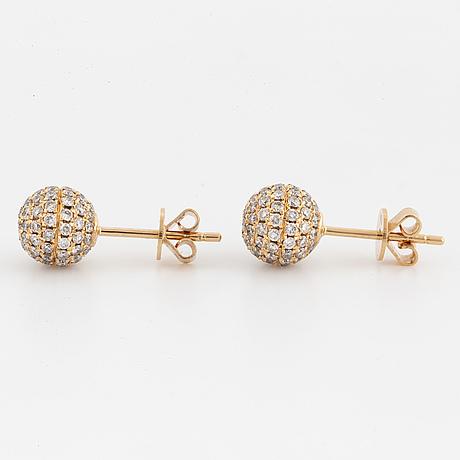 Brilliant cut diamond ball earrings