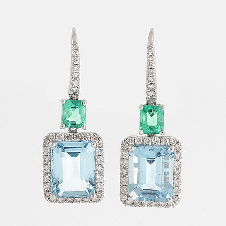 Aquamarine, emerald and brilliant-cut diamond earrings.