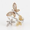 Brilliant cut diamond butterfly ring