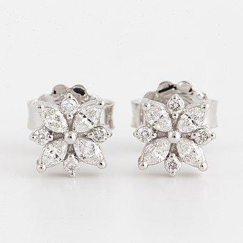 Brilliant-cut and marquise cut diamond earrings.