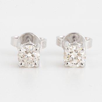 Brilliant-cut diamond stud earrings, with IGI report.