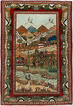 MATTA, semiantik/old  Keshan figural, ca 194,5 x 129,5 cm.
