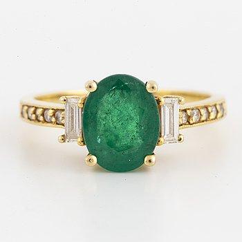 Emerald, baguette and brilliant-cut diamond ring.