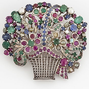 Flower basket brooch, with pearls, rubies, emeralds and sapphire.