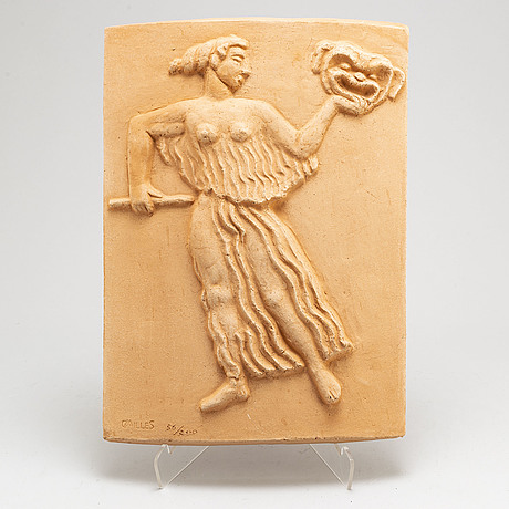 Carl milles, after, a wall relief in terracotta, signed c milles and numbered 56/200.