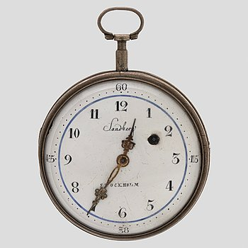 A AW Sandberg silver pocket watch, 60 mm.