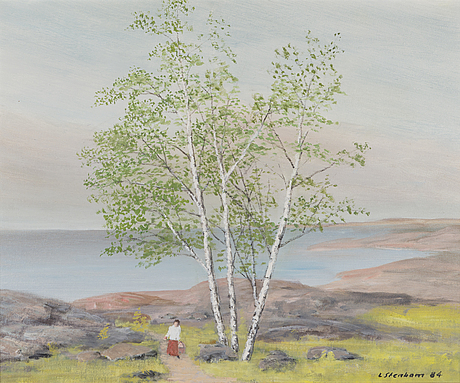 Lasse stenbom, oil on canvas panel, signed and dated 84.