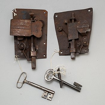 Two iron door locks with keys, 18th or early 19th century.