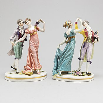 a set of two french porcelain figurines, around 1900.