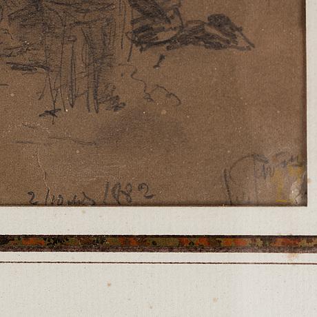 Ilja jefimovitj repin, pencil drawing, signed and dated 2710 1882