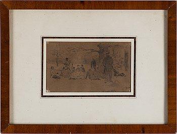 ILJA JEFIMOVITJ REPIN, blyertsteckning, signerad 2/10 och daterad 1882.