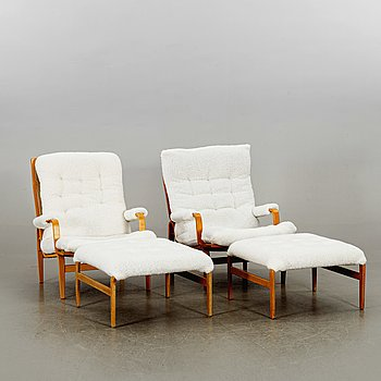 BRUNO MATHSSON, a pair of Ingrid armchairs for DUX later part of the 20th century.
