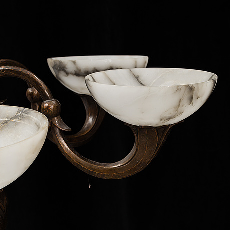 A 1920s 30s copper and alabaster ceiling light