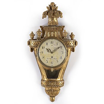 A Gustavian wall clock by Hans Wessman, Stockholm, active 1787-1805.