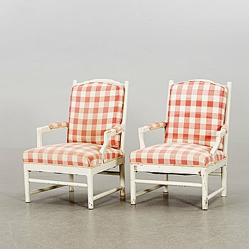 A pair of Swedish 19th century armchairs.