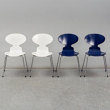 ARNE JACOBSEN, stolar, 4 stycken, 'Myran', för Fritz Hansen, Danmark.